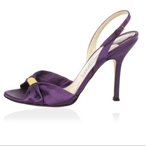 Purple and Gold Jimmy Choo Slingback Strappy Heels